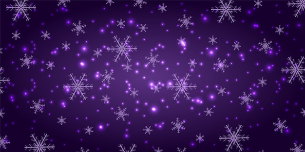 Снегопад на фиолетовом фоне. зимние снежинки модный фон.