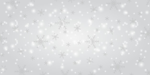 Снегопад на белом фоне. зимние снежинки модный векторный фон. сияющий снег с рождеством