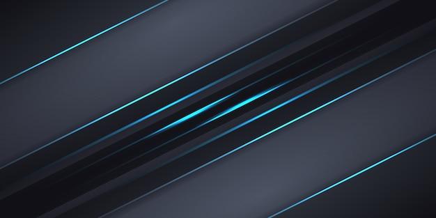 青い光線と暗い灰色の抽象的な背景