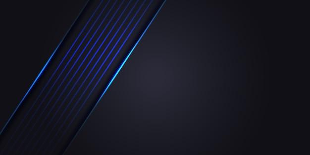 青い光のラインと暗い灰色の抽象的な背景。豪華な現代技術の未来的な背景。