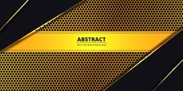 黄金の高級六角形炭素繊維の背景。金色の明るいラインと抽象的な背景。豪華なモダンな未来的な背景。 。