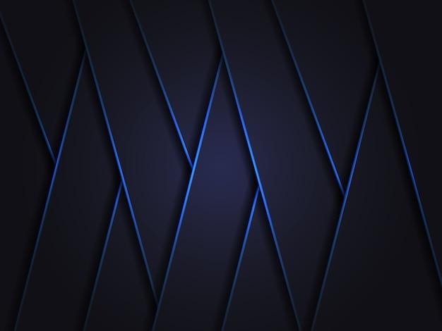 青い光のラインシャドウ暗い灰色の豪華な背景。青い波カバーテンプレート。