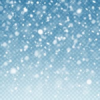Реалистичный падающий снег. снежный фон. морозный шторм, снегопад эффект на синем прозрачном фоне. рождественский фон
