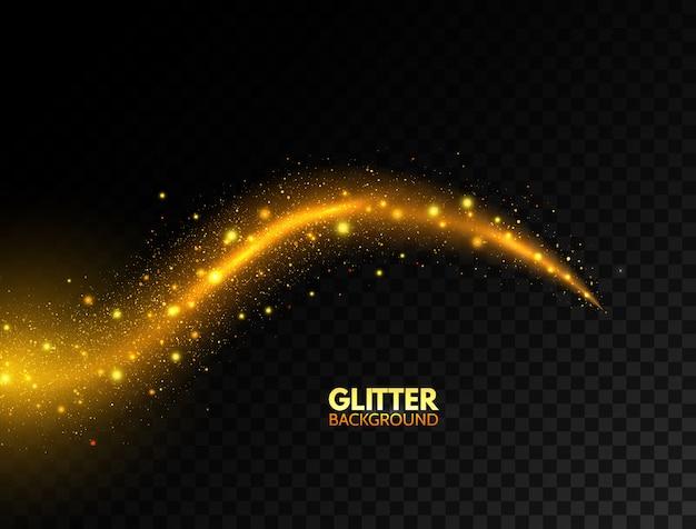輝く黄金の波。キラキラのゴールドの曲線