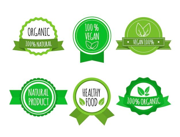 Набор значков био здоровой пищи. веганские, органические логотипы. векторная иллюстрация
