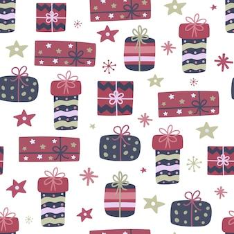 手描きクリスマスギフトボックスのシームレスパターン。プレゼント、星、雪片で落書きデザイン。