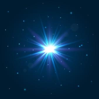 Сияющая звезда. взрыв световой эффект. отблеск от линз.