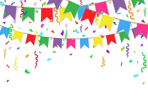 パーティーの背景にカラフルな旗、紙吹雪