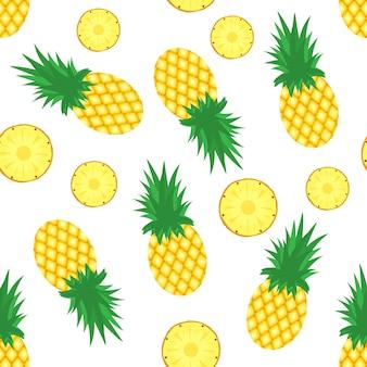 パイナップルの背景。新鮮なパイナップルとパイナップルのスライス