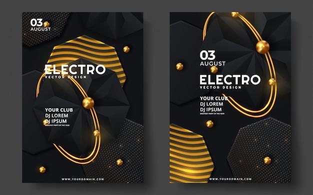 電子音楽祭。モダンなポスターやチラシのテンプレートデザイン。
