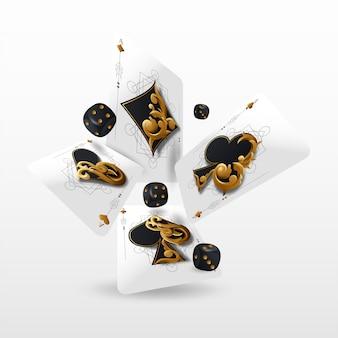 トランプとポーカーチップはカジノを飛ばします。白い背景の上の概念。ポーカーカジノのイラスト。