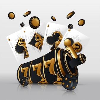 Игральные карты и фишки для покера летают в казино. концепция на белом фоне. покер казино иллюстрации.