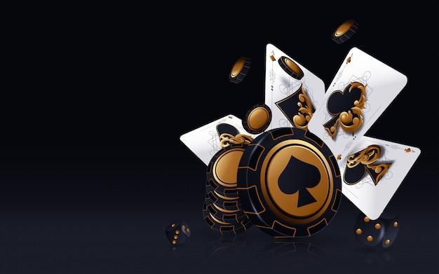 Казино покер. падение покер карты и фишки игровой концепции. казино счастливый фон изолированы.