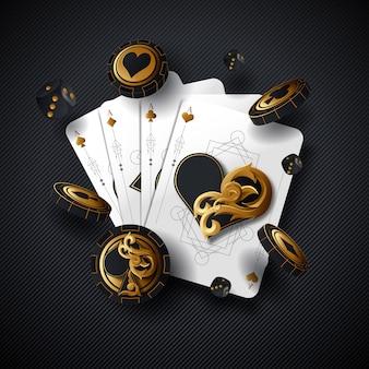 ポーカーカードのカジノの背景。エースダイスベガスチップフライングスタック。ギャンブルカジノカード落下デザイン。