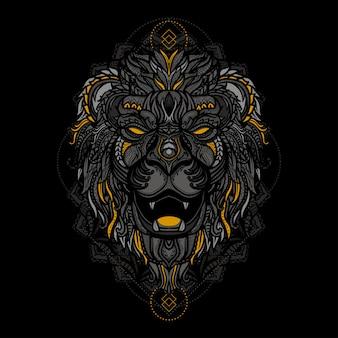 手描きのカラフルな民族のライオンヘッドの図