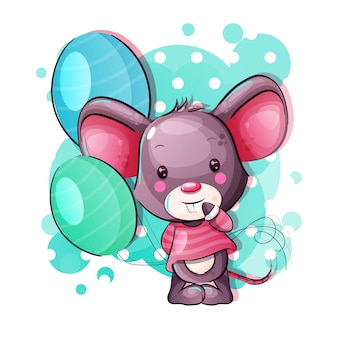 Симпатичная мультипликационная мышка с воздушными шарами