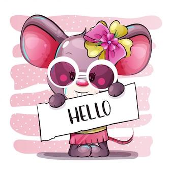 かわいい漫画の女の子の赤ちゃんマウス。手描き漫画