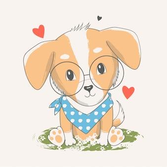 かわいい赤ちゃん犬のベクトル手描きイラスト