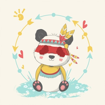 Рисованной иллюстрации милый ребенок панда с апача обычай.