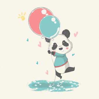 Рисованной иллюстрации милый ребенок панда с воздушными шарами.