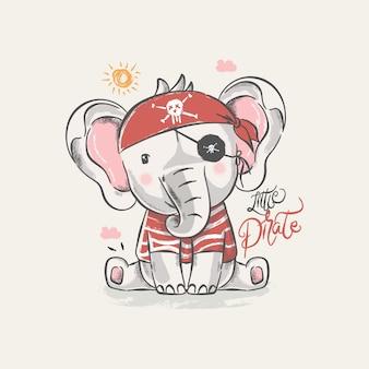 海賊カスタムとかわいい赤ちゃん象の手描きイラスト