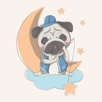Рисованной милый маленький мопс с луной и звездами иллюстрации