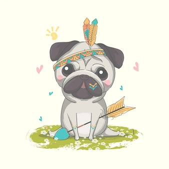 Рисованной милый маленький мопс с перьями иллюстрации