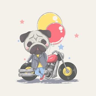 Рисованной милый маленький мопс с мотоциклом и воздушными шарами иллюстрации