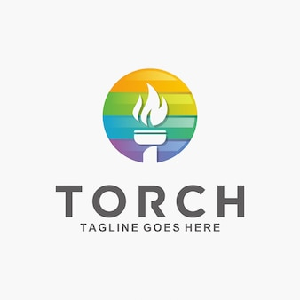 モダンな抽象的トーチのロゴ