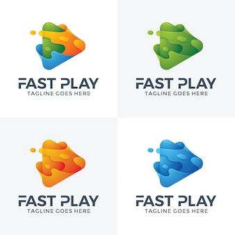 抽象的な高速プレイのロゴデザイン。