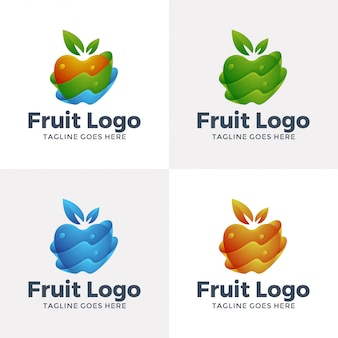 オプションカラーのモダンなフルーツロゴデザイン。
