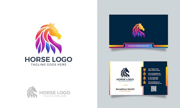 Красочный абстрактный логотип лошадь с визитной карточкой