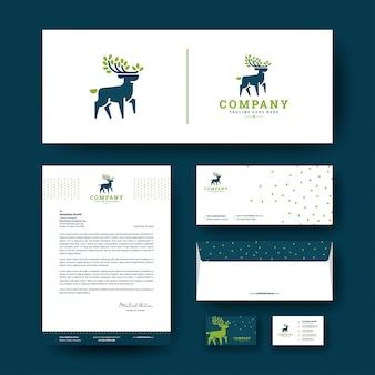 企業のひな形テンプレートと鹿のロゴ