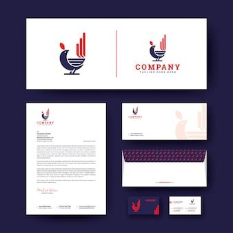 Логотип птицы с фирменным шаблоном канцелярских товаров
