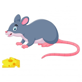 Забавный мультяшный мышонок нюхает сыр