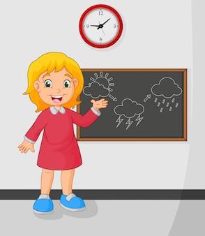 漫画若い女の子立っているフロント黒板