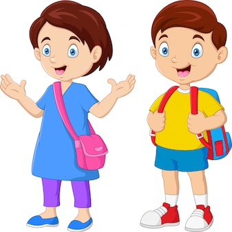 バックパックと漫画の学校の子供たち