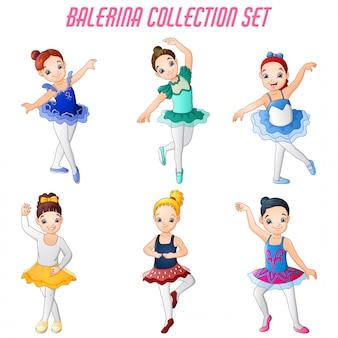 Маленькая девочка балерина танцует набор сбора