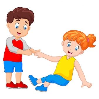 Мальчик помогает девушке встать