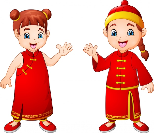 漫画のかわいい男の子と中国の衣装の女の子
