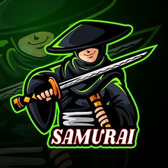 Самурай талисман киберспорт дизайн логотипа