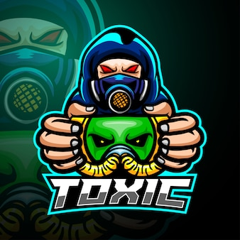 Токсичный парень талисман кибер дизайн логотипа