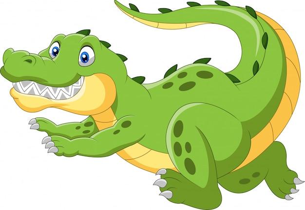 Счастливый мультяшный крокодил быстро бегает