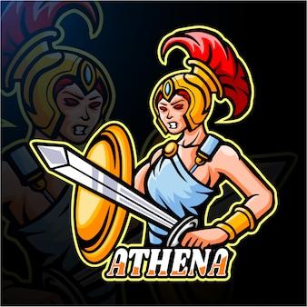 Афина киберспорт логотип дизайн талисмана