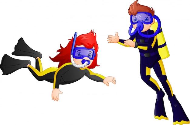 ダイビング水着の漫画スタイルの少年
