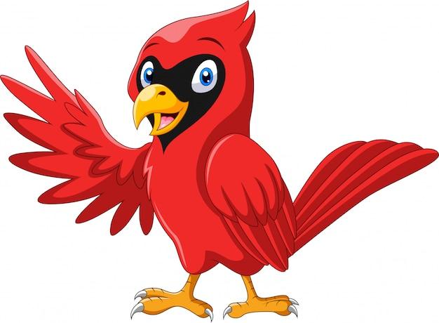 Милый мультфильм красивый кардинал птичка машет