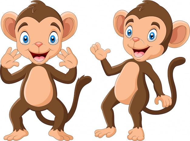 Мультфильм счастливая обезьяна машет рукой