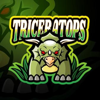 Трицератопс киберспорт логотип дизайн талисмана