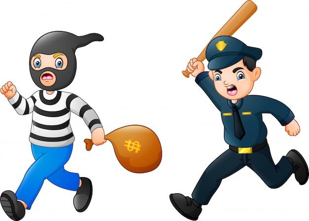 警官が泥棒を追いかけようとする