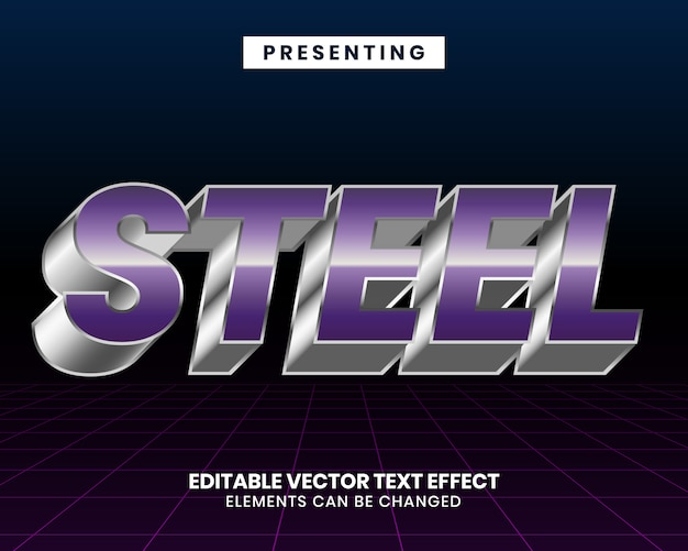 Металлический футуристический стиль редактируемый текстовый эффект